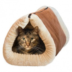 2-in-1 Cozy Cat Tunnel and Bed with Self-Heating Interior