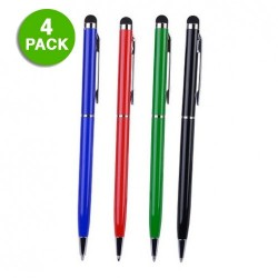 4-Pack: 2-in-1 Touchscreen Stylus and Pen