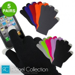 5 Pairs: Refael Collection Touchscreen Texting Gloves