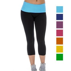 Ladies Yoga Capri with Fold Over Waistband